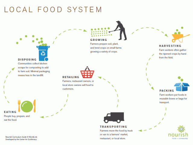 Compare and contrast local and industrial food systems